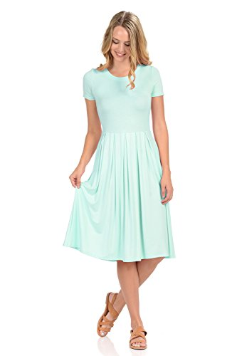 iconic luxe Women's Short Sleeve Pleated Midi Dress with Pockets X-Large -