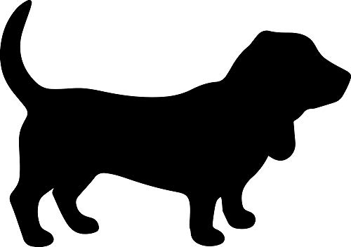 ANGDEST Basset Hound Silhouette Funny (Black) (Set of 2) Premium Waterproof Vinyl Decal Stickers for Laptop Phone Accessory Helmet Car Window Bumper Mug Tuber Cup Door Wall Decoration