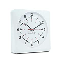 Marathon Analog Wall Clock with Auto Back Light and No Ticking Silent Sweep. Commercial Grade. Color-White Case White Dial. SKU-CL030057WH-WH1