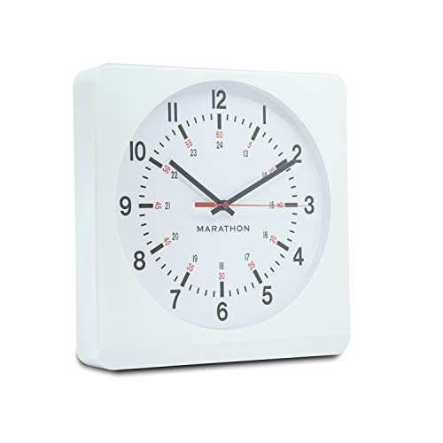 Marathon Analog Wall Clock with Auto Back Light and No Ticking Silent Sweep. Commercial Grade. Color-White Case White Dial. SKU-CL030057WH-WH1 -