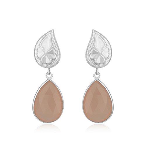 Chalcedony Floral Earrings - Rose Chalcedony Gemstone 925 Silver Floral Drop Girls Earrings