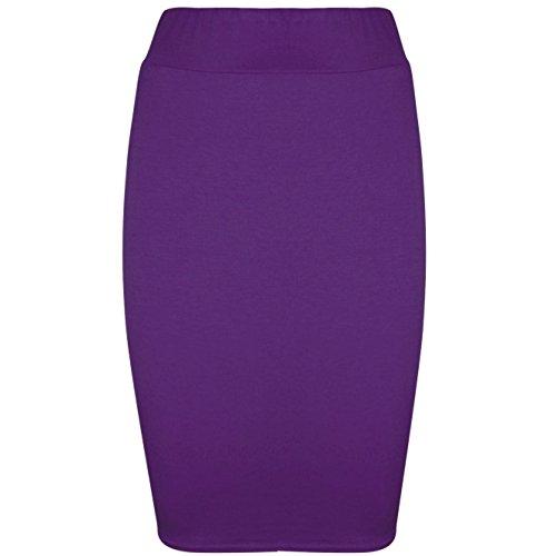 Be Jealous - Femmes - Jupe fourreau moulante extensible jersey couleur unie bureau - Violet, EU 48/50