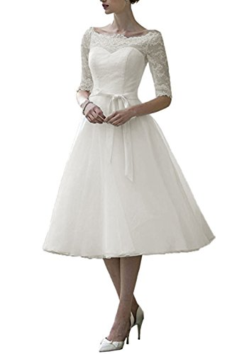 Dobelove Lace Half Sleeves Tea Length Ball Gown Wedding Dress,12,Ivory