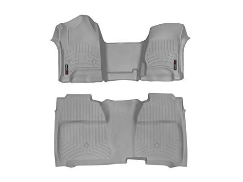 2014-2016 Chevrolet Silverado-Weathertech Floor Liners-Full Set (Includes 1st and 2nd Row)-Fits Crew Cab Models-Grey ()