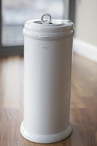 Ahorro de dinero de Ubbi, No se requiere bolsa especial, Cubo del pañal con cierre de olor a acero, Blanco
