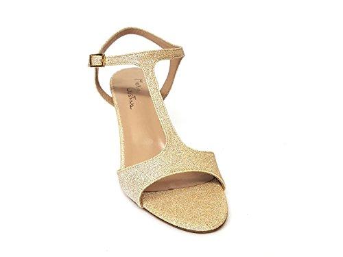 Oro go Gold In Sandalo Mainapps Maria Cristina Glitterata Pelle Donna 4956 FfSBxH