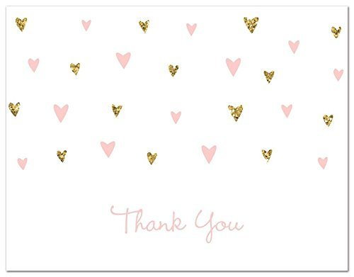 50 Cnt Pink Faux Glitter Hearts Baby Shower Thank You Cards