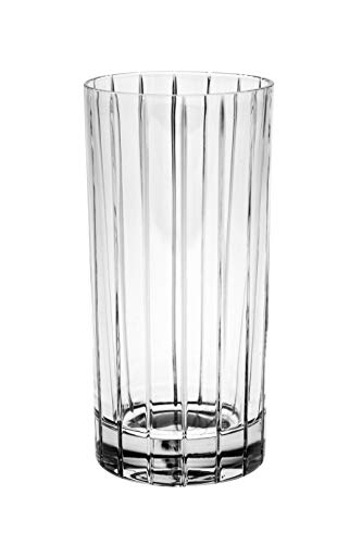 24% Lead Crystal Glass - Barski - European Quality Glass- Crystal - Set of 6 - Highball - Hiball Tumblers - 14 oz. - with Classic Clear Striped Design on tumbler - Glasses are Made in Europe