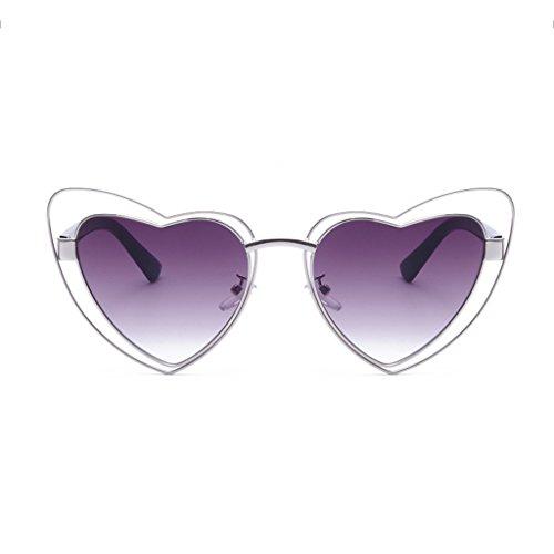 Metal Eye Color Gafas Sol Cats Ms Shape Stars UV400 de A Decoración Fashion Gafas PC Personality Heart B wUx4Zd0Oqn
