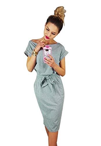 Batwing Belt (Women's Elegant Short Sleeve Casual Pencil Dress with Belt (Grey, XL))