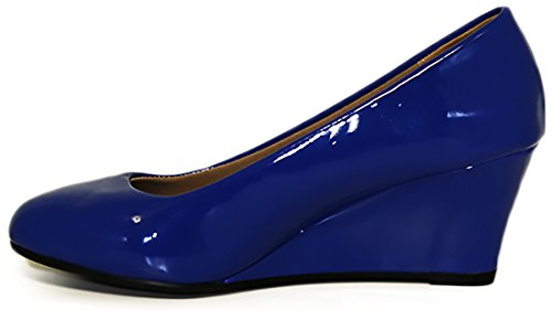 Voor Altijd Link Womens Doris-22 Patent Ronde Neus Wedge Pumps Blue Pat