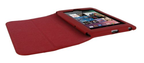 rooCASE Ultra-Slim (Red) Vegan Leather Folio Case for Google Nexus 7 Tablet (Built-in sleep / wake feature) Photo #3