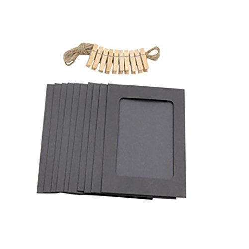 3Inch Paper Photo Flim DIY Wall Picture Hanging Frame Album+Rope+Clips Set (Black) ()
