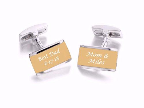 Personalized Silver & Gold Two Tone Cufflinks Custom Engraved - Two Tone Personalized Cufflinks