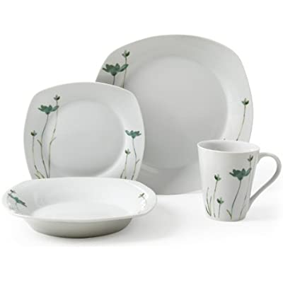 Click for Gibson Lake Blossom 16-Piece Decorated Porcelian Square Dinnerware Set