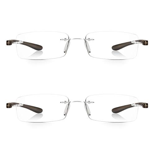ce3a378112 Read Optics 2 Pack Rimless Reading Glasses 2.0  Mens Womens New Patented  SecureLoc Readers. Guaranteed Not To Fall Apart Like Other Frameless Glasses .