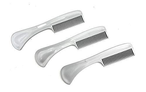 GBS 3 Pack Beard Mustache Comb X-Small. Unbreakable Fine Toothed Beard and Moustache Combs Pocket Size for Facial Hair Grooming Saw-Cut – Metallic Gray
