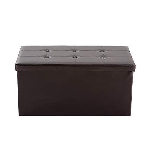NB Liner Foldable Rectangular Storage Ottoman Bench Brown, S