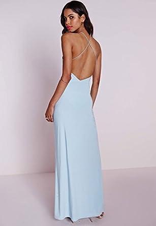 c30cb00065 Womens Slinky Side Split Maxi Dress Powder Blue - 10  Amazon.co.uk ...