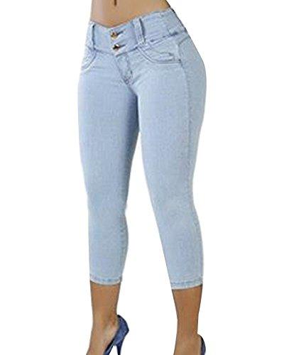 Clair Rtro Up Haute 3 4 Taille Femme Pantacourt Capri Bleu Push Jeans Pantalons Skinny wcRApOnqEW