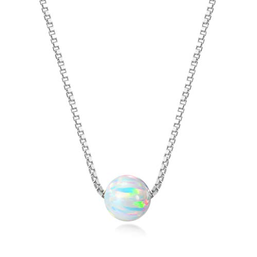 Lemondrop Sterling Silver 6mm Created Opal Choker Necklace - Choose Yellow Gold, Rose Gold, or Rhodium Finish