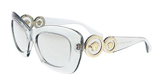 Versace Women's VE4328 Sunglasses Transparent Grey / Light Grey Mirror Grad Silver - Style Versace Sunglasses