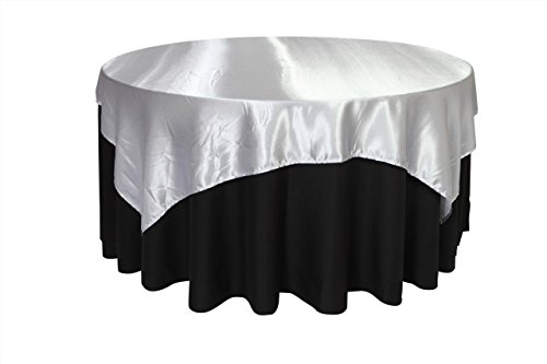 Your Chair Covers - 72 inch Square Satin Table Overlay Silver, Square Satin Table Cloths ()