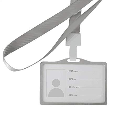 1KTon Aluminum Vertical ID Card Badge Holder Business Work Bus Card Case Cover Lanyard