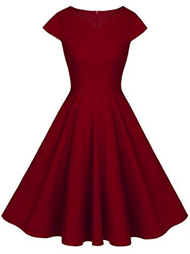 FAIRY COUPLE Vintage Rockabilly Cap Sleeves Prom Dress L Burgundy (Best Dress Websites For Juniors)