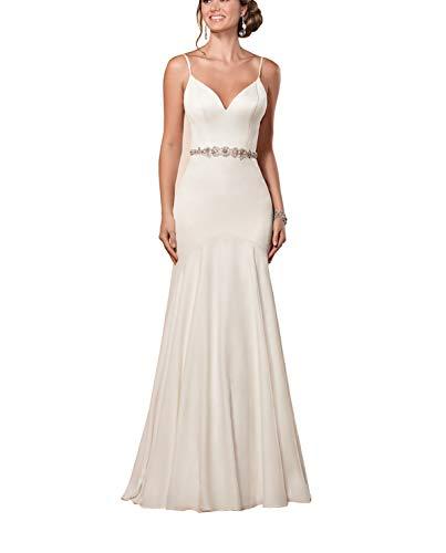 Women Satin Bridal Dress V-Neck Beach Wedding Dress Backless Mermaid Wedding Dresses with Beaded