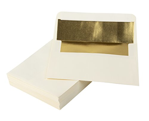 5x7 Envelopes for Invitation- 50-Pack A7 Gold Foil Lined Luxury Embossed Square Flap Envelopes, Envelopes for Announcements, Photos, Wedding, Graduation, Birthday, Ivory with Gold Foil