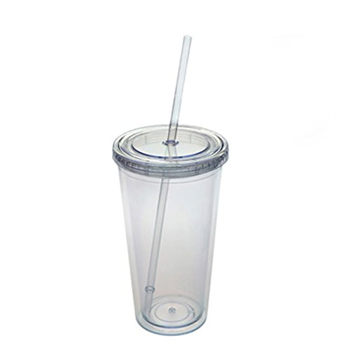 Double Wall Acrylic Tumbler - Jearey Insulated Tumblers Acrylic Travel Tumbler Double Wall Plastic Cups with Lids and Straws (E-Clear, 27oz)