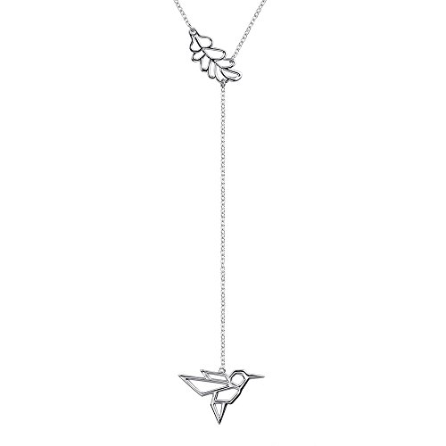 Pendant Hummingbird Sterling (Apotie 925 sterling silver Y-Necklace Beautiful Bird Pendant Charm Necklace and Gifts Jewelry Long Chain for Women)