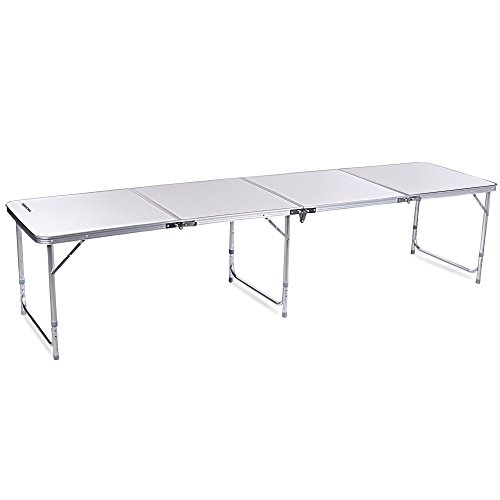 [Ancheer 8ft Aluminum 4-In-1 Portable Folding Utility Table with Carrying Handle for Kitchen Garden Party Picnic Camping, White] (8 Utility Table)