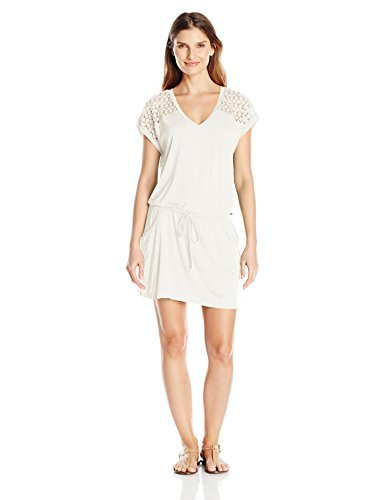 Calvin Klein Women's V-Neck Crochet Tunic Cover Up, Milk Solid, Large/X-Large