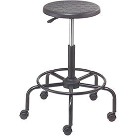 Polyurethane Scooter Stool with Steel Base Black