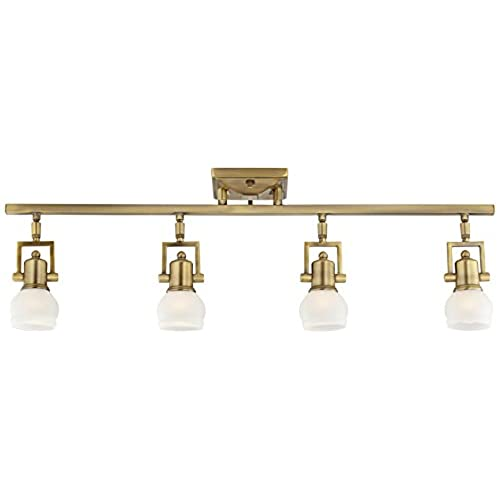 Antique style track lighting amazon pro track corwin brass 32 12 wide 4 light track fixture mozeypictures Gallery