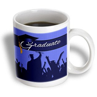 mug_173225_1 Doreen Erhardt Graduation Collection - Blue and Black Graduation with Cheering Crowd of Graduates. - Mugs - 11oz Mug