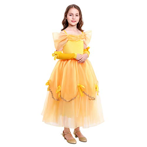 Girls Belle Dress up Princess Beauty and Beast Costume Kids Yellow Ball Gown Cosplay Party Dresses Fancy Clothes 2-3 Years (Beauty And The Beast Dress Up Clothes)