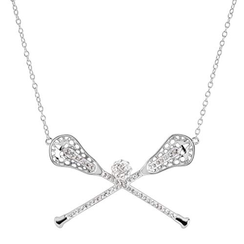 Crystaluxe Lacrosse Sticks Necklace with Swarovski Crystals in Sterling Silver (Sterling Lacrosse Stick)