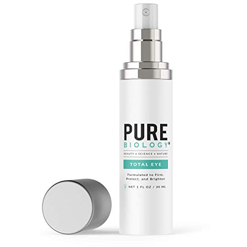 Pure Biology Premium Total Eye Cream Serum – Anti Aging Vitamin C, E & Hyaluronic Acid Reduce Dark Circles, Puffiness, Under Eye Bags, Wrinkles & Fine Lines for Men & Women, 1 oz
