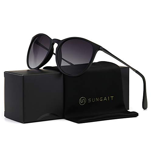 SUNGAIT Vintage Round Sunglasses for Women Classic Retro Designer Style (Black Frame Matte Finish/Grey Gradient - Gift Keychain Design