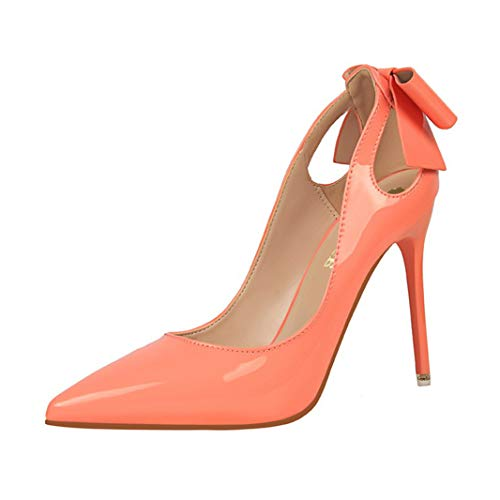 (Drew Toby Women Pumps Pointed Toe Patent Leather Shallow Party Office OL High Heels 10cm)