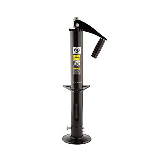 Lippert Components 733926 Black Standard Quick Drop Tongue Jack Top-Wind Power Drill Compatible For A-Frame Trailer 2,000 lb. Capacity