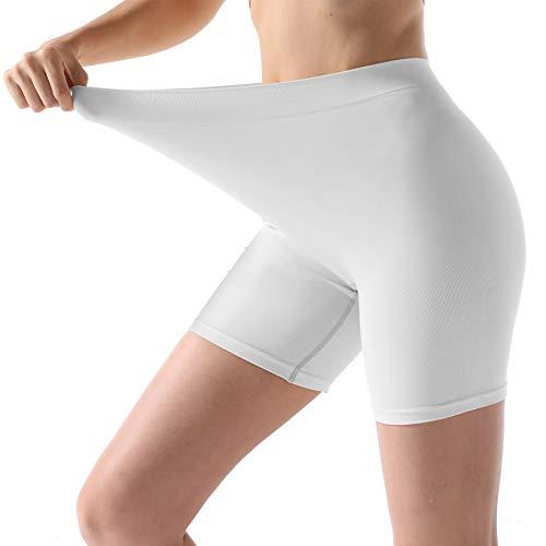 (MELERIO Boxer Briefs for Women, Seamless Plus Size Underwear Panties Yoga Sleep XL White)
