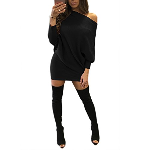 Sindy Queen Cute Sexy & Club Slash neck Three Quarter Regular Asymmetrical short skirts Club Dresses(Black-XL)