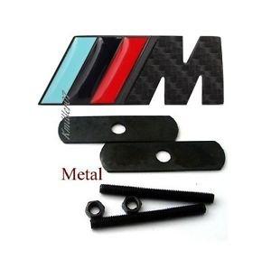 M Power Car Front Grille Badge Logo Emblem Carbon Fiber Black Fit BMW