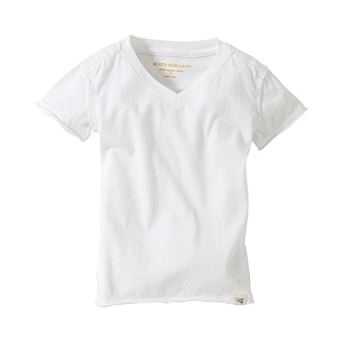 Burt's Bees Baby - Toddler Solid Short Sleeve Reverse Seam V Neck Tee, 100% Organic Cotton (Cloud, 3T)