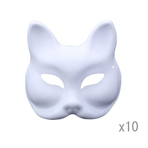 Meimasks DIY White Paper Mask Pulp Blank Hand Painted Mask Personality Creative Free Design Mask 10pcs (Half face Fox) ()