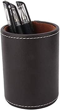 JOJOZZ Portapenne rotondo in pelle PU portapenne creativo alla moda decorazione scrivania semplice forniture ufficio Marrone